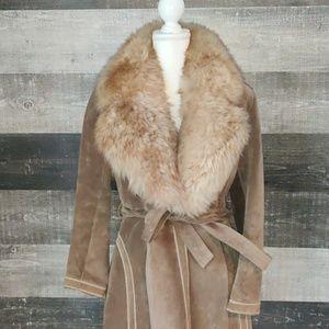 Vintage 1970 long leather fur trimmed trench coat